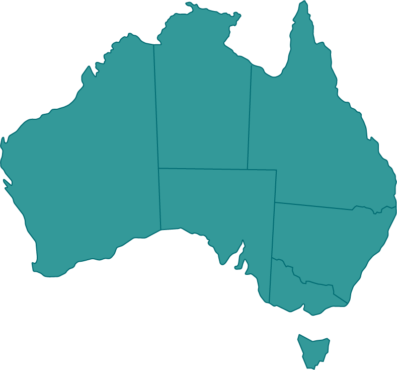 Map of Australia showing all states selected