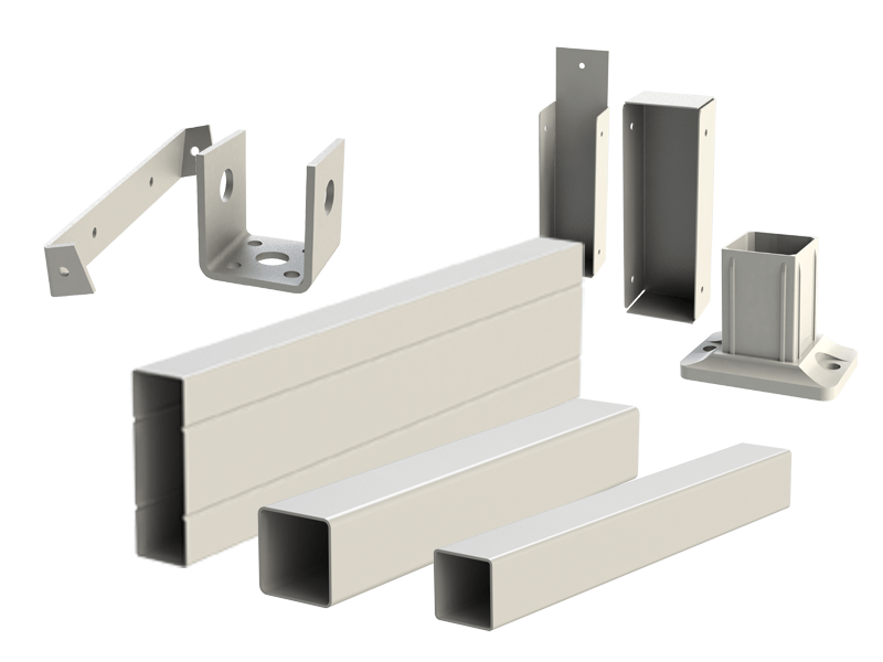 photo showing array of post and beam components
