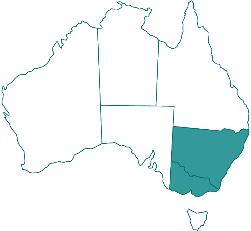 Map of Australia showing states of NSW and VIC highlighted.