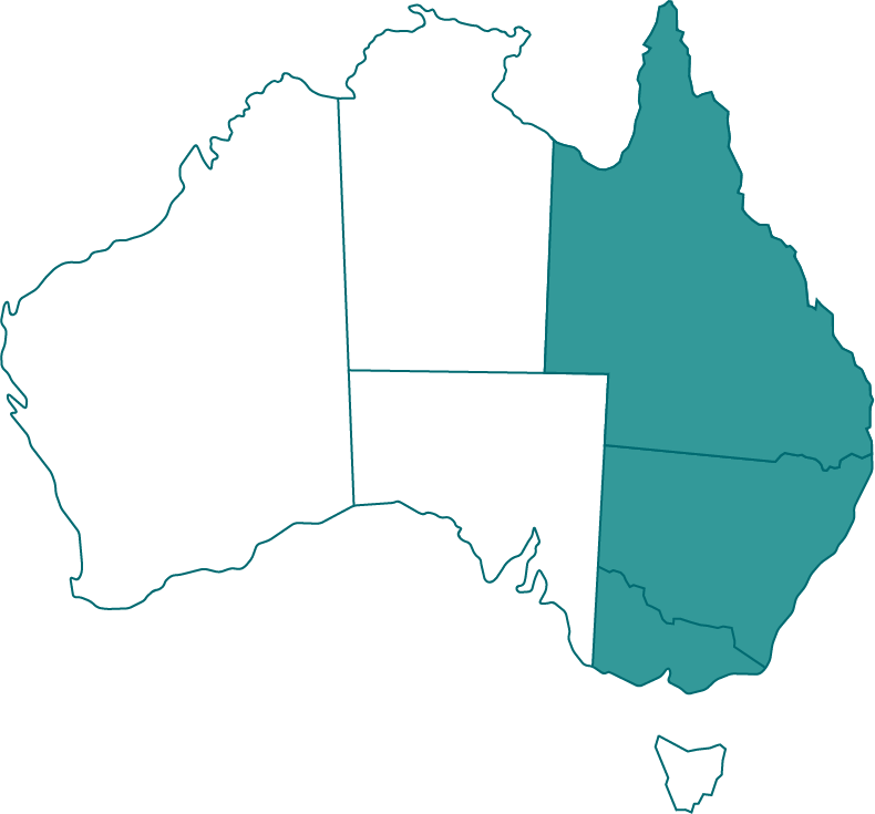 Map of Australia with states of QLD, NSW and VIC highlighted.