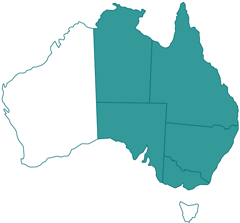 Map of Australia with all states highlighted excluding WA & TAS