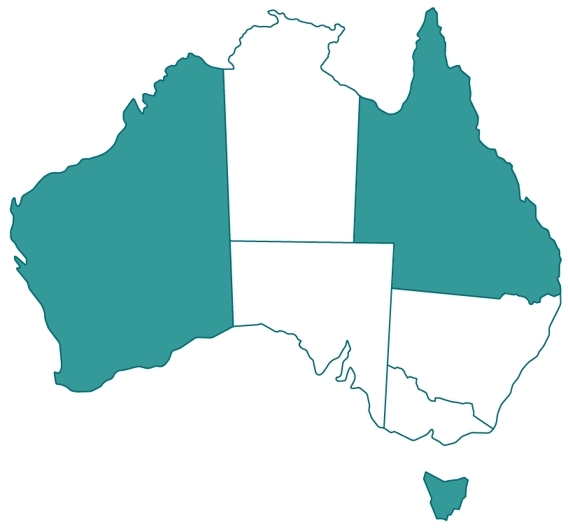 Map of Australia with states of WA, QLD and TAS highlighted.