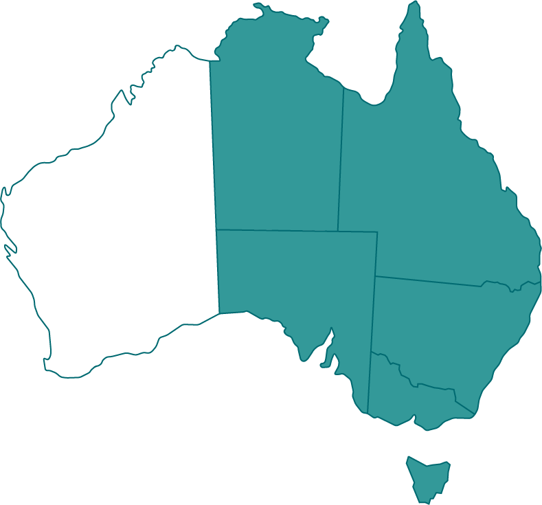 Map of Australia with all states highlighted excluding WA