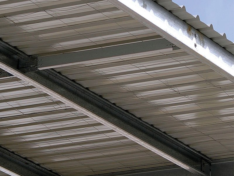 Photo of Trimclad installed as roof on an industrial building.