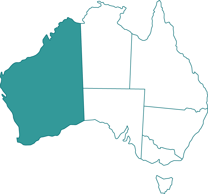 Map of Australia showing state of WA highlighted