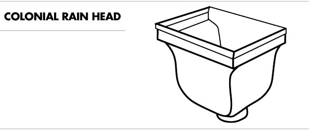Line drawing of a colonial rain head