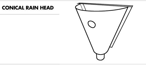 Line drawing of a conical rain head