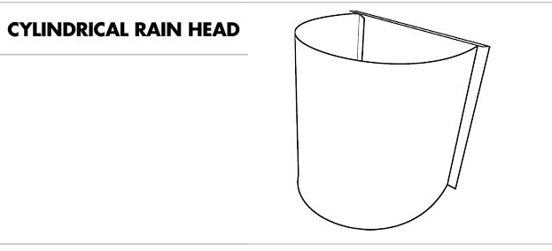 Line drawing of a cylindrical rain head