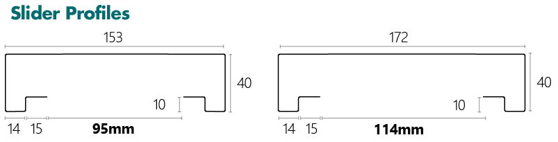 Dry Wall Slider Profile line drawing and dimensions
