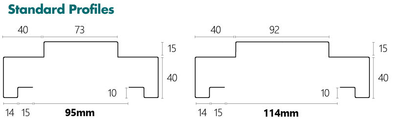 Dry Wall Standard Profile line drawing and dimensions