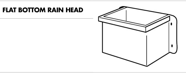 Line drawing of a flat bottom rain head