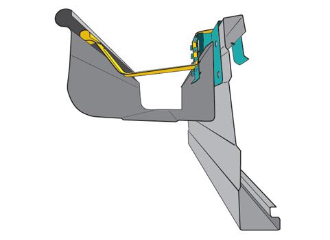 Graptor Bracket assembly installed on a Quad Gutter
