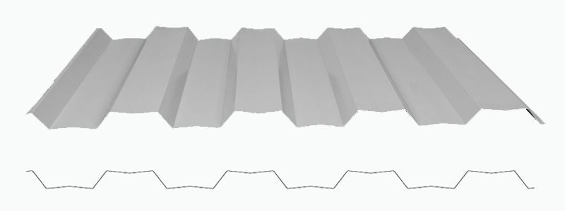 Render showing a 3D render image of the metline/harmony fence and a line drawing of the profile.