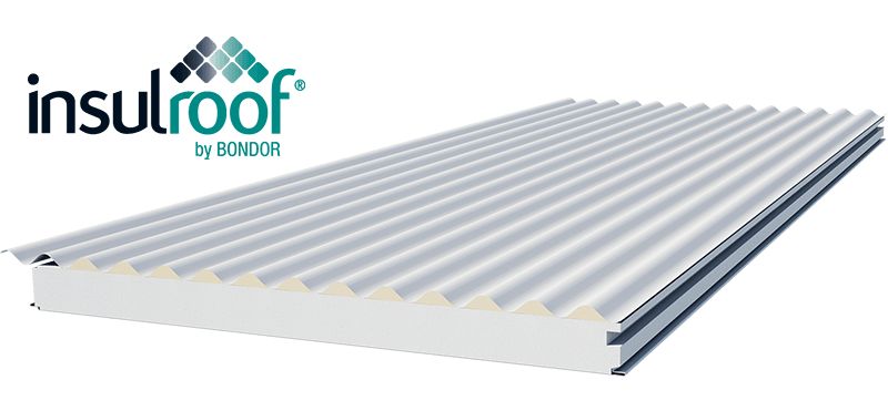 Render image of an Insulroof panel and the Insulroof logo.