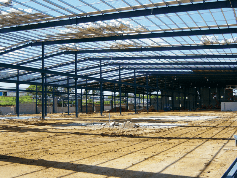 image of a large shed under construction showing the purlins and girts.