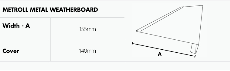 Drawing and dimensions of metal weatherboard