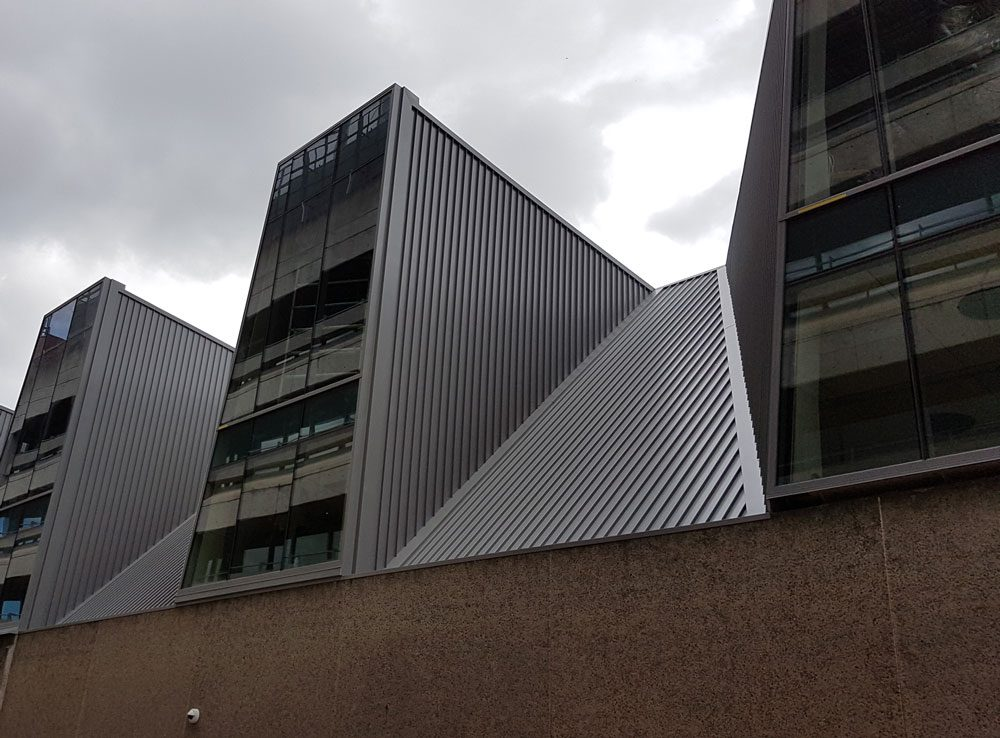 Photo of Nailstrip installed as roofing and cladding on a contemporary building.