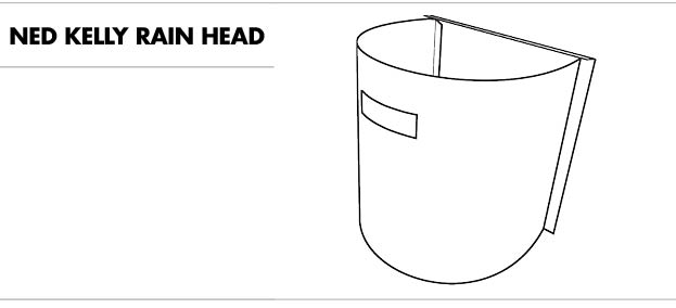 line drawing of a ned kelly rain head