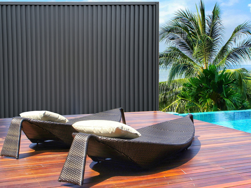 Installed Polaris fence panel with swimming pool