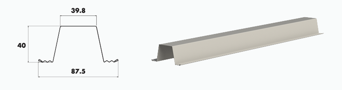 Dimensions and render of steel roof batten
