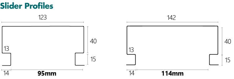 Metroll Shadow Line Door Frame Specs Slider Profile - 95mm and 114mm