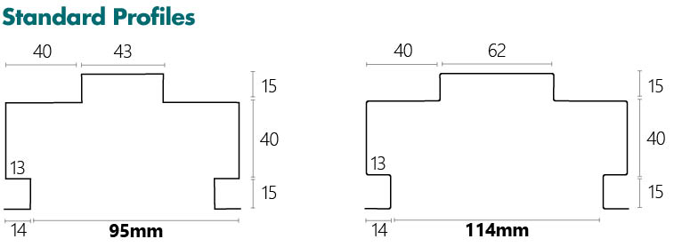 Metroll Shadow Line Door Frame Specs Standard Profile - 95mm and 114mm
