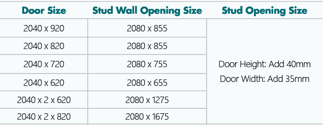 Split Door Frame spec table showing door size and stud wall opening size.