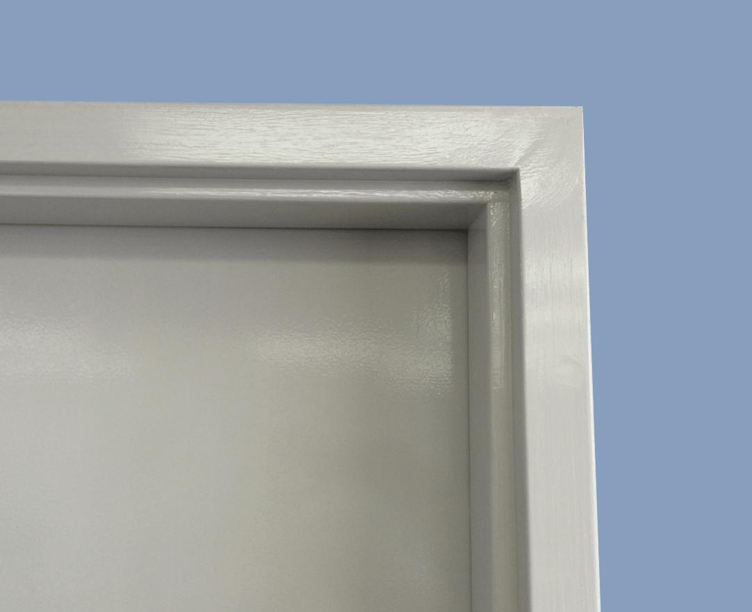 In situ view of a Metroll Square Bend Metal Door Frame