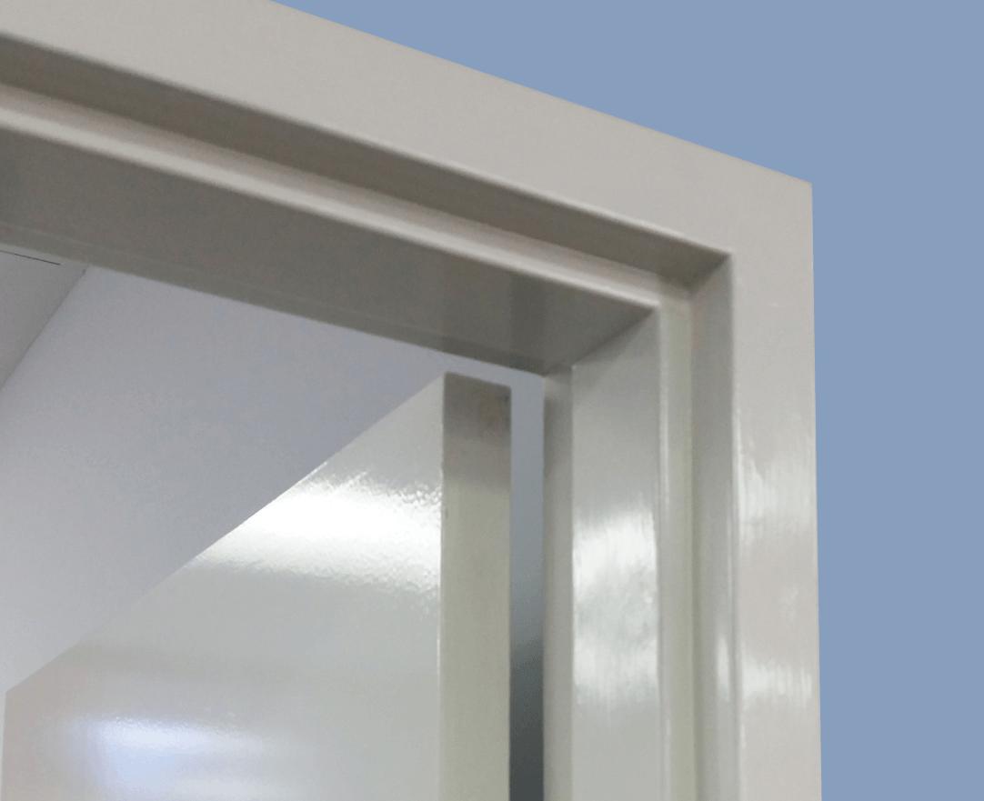 Side angle of Metroll Square Bend Metal Door Frame in situ.
