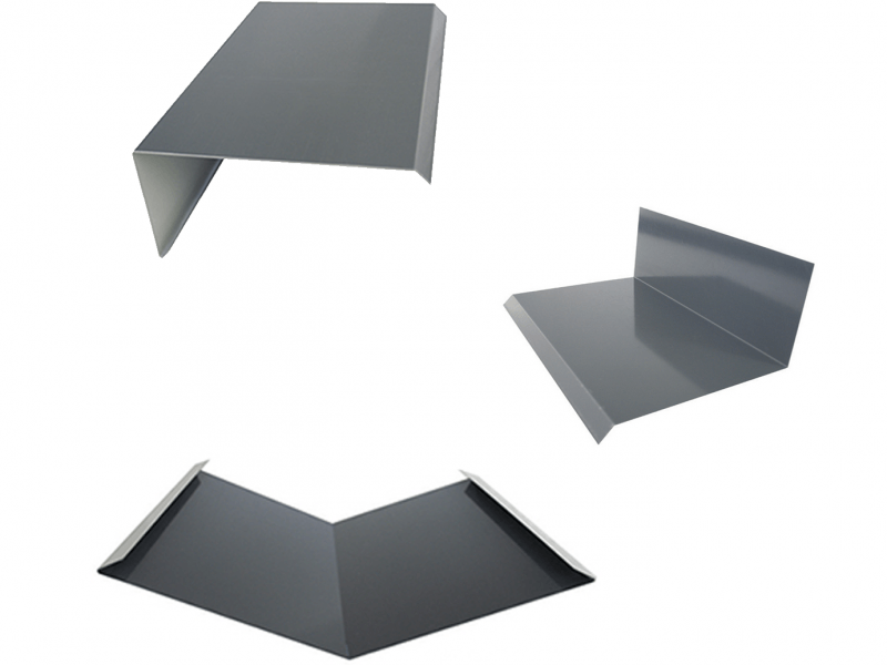 group shot of standard steel flashing examples