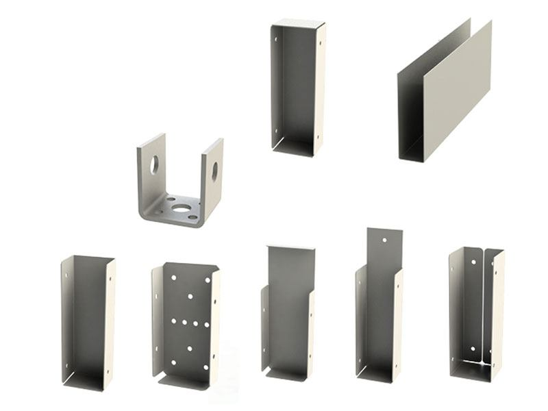 photo showing array of steel post and beam components
