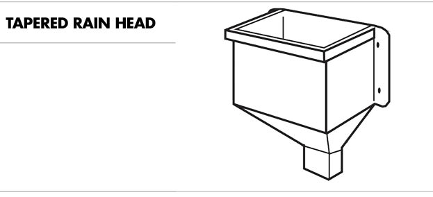 Line drawing of a tapered rain head